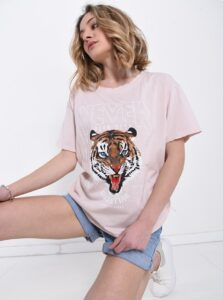 T Shirt In Cotton Animals Pattern Pink
