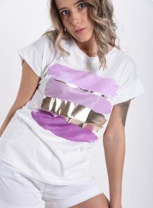 T Shirt In Cotton Printed Pattern Lila