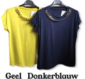T Shirt Met Ketting Geel En Blauw
